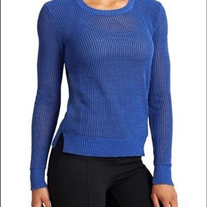 Athleta mesh pullover sweater blue